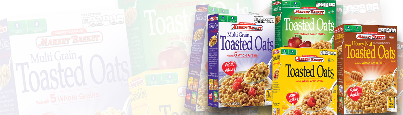 Wright Design created impressive packaging for new Market Basket Toasted Oats cereals…
